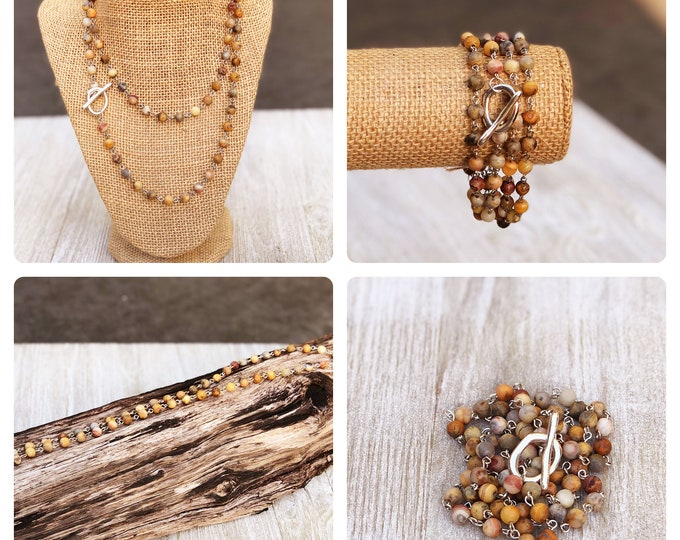 boho bead layered necklace Long Layering Necklace wrap bracelet Convertible Necklace long beaded necklace bobo beaded wrap bracelet