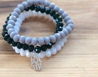 Hamsa Jewish Star Charm Bracelet- Stacking Bracelets- Set of 3 -Personlized Jewelry- Yoga Jewerly- Hamsa Bracelet- Yoga Bracelet-Jewish Star