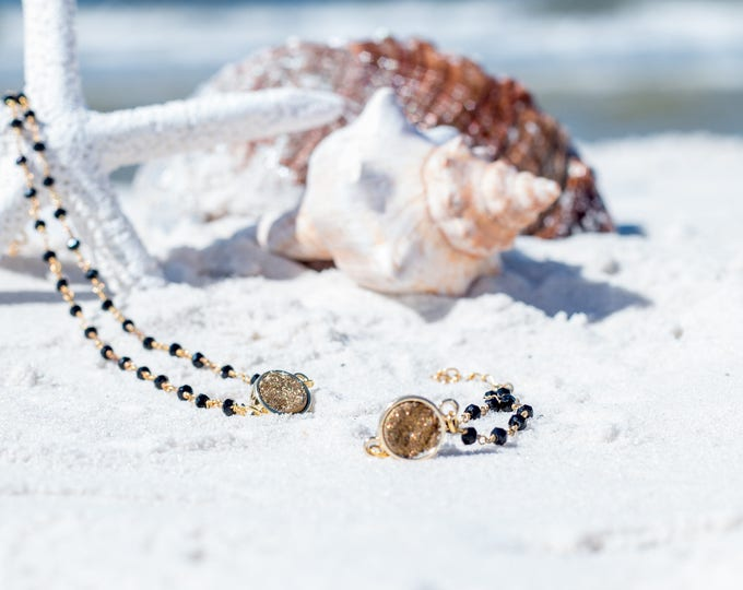 Druzy Bracelet / Gold Druzy Bracelet / Black Druzy Beaded Bracelet / Trendy Druzy Bracelet / Druzy Jewelry