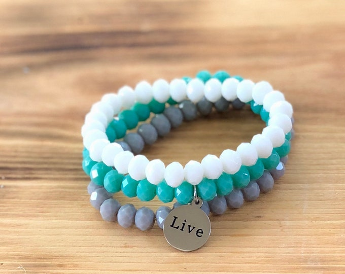 Intent Bracelet- Custom Word Bracelet- Stacking Bracelets- Set of 3 -Custom Charm Bracelet- Personlized Jewelry -Live- Word Jewelry
