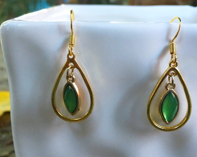 Gold and emerald green earrings | Loop Earrings | Trendy and Fun Earrings | Lightweight Dangle Earrings