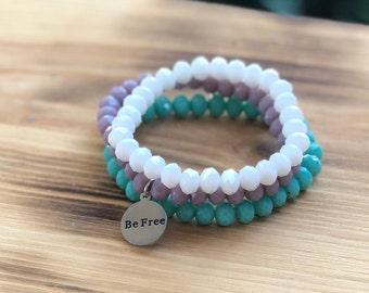 Intent Bracelet- Custom Word Bracelet- Stacking Bracelets- Set of 3 -Custom Charm Bracelet- Personlized Jewelry -Be Free- Word Jewelry