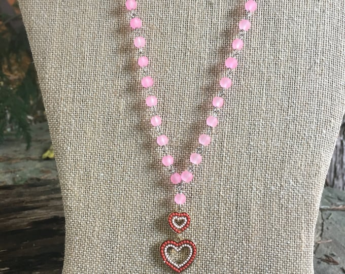 Double Heart Necklace /  Heart Jewerly / Heart Bling / Fun Girls Necklace