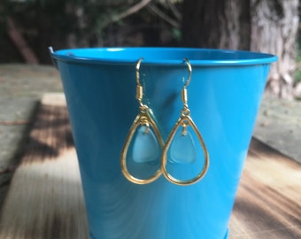 Gold and Turquoise Earrings | Loop Earrings | Light-weight Earrings | 14 kt Gold Filled Earrings