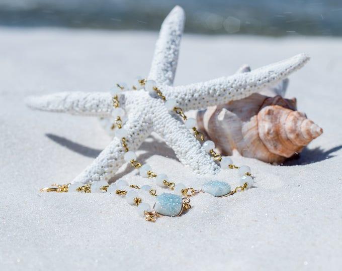 Druzy Bracelet / Gold Druzy Bracelet / Turquoise Druzy Beaded Bracelet / Trendy Druzy Bracelet / Druzy Jewelry