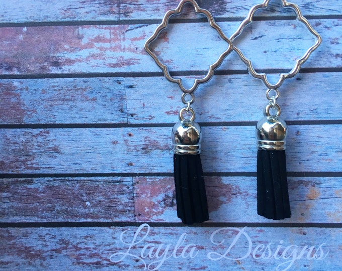 Black Tassel Earrings, Tassel suede earrings, Tassel Drop Earrings, tassel earrings, drop silver earrings, Modern geometric earrings