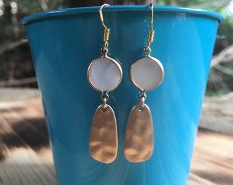 White Gemstone Earrings   Hammered Gold Earrings    Chalcedony Bezel Dangle    Trendy and Fun Earrings   Light Weight Dangle Earrings