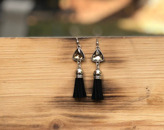 Gemstone Tassel Earrings, Dangle Earrings, Black Tassel suede earrings, Tassel Drop Earrings, drop silver earrings, Tassel Jewelry