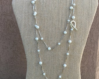 Long Pearl Necklace | Layered Pearl Necklace | Silver Wire Wrapped Pearl Necklace | Modern Pearl Necklace  | Lariat Necklace | Statement