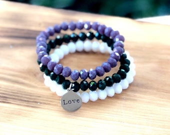 Intent Bracelet- Custom Word Bracelet- Stacking Bracelets- Set of 3 -Custom Charm Bracelet- Personlized Jewelry -Love- Word Jewelry