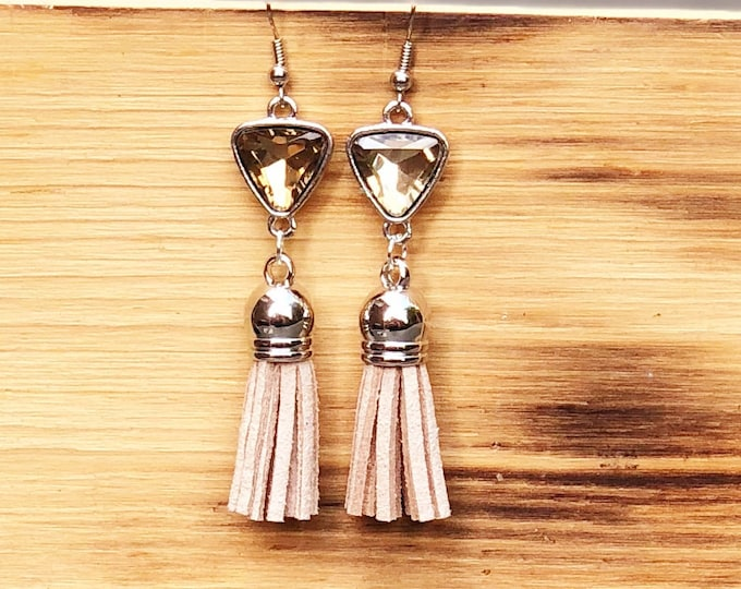 Gemstone Tassel Earrings, Dangle Earrings, Tassel suede earrings, Tassel Drop Earrings, drop silver earrings, Tassel Jewelry