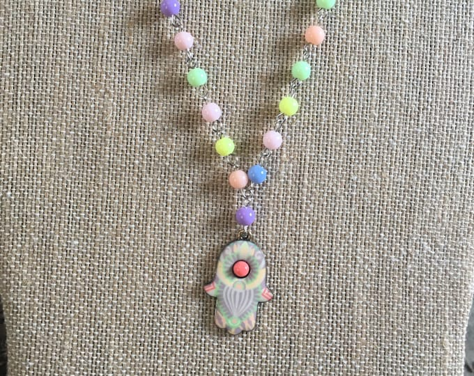 Colorful Hamsa Necklace | Wire Wrapped Hamsa Necklace | Bat Mitzvah Gift | Modern Jewish Jewelry | Hamsa made in Israel