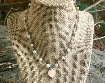Pearl choker necklace / Druzy choker / Silver choker /  Delicate choker / Trendy Necklace