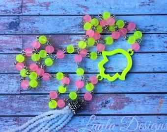 Pink Hamsa Necklace | Kids Jewelry |  Hamsa Necklace | Bat Mitzvah Gift | Modern Jewish Jewelry | White rhinestone tassel