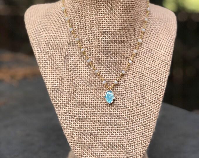 Hamsa Turquoise Opal Choker/ Turquoise hamsa opal necklace / opal hamsa choker / hamsa choker / opal hamsa charm / Hamsa necklace
