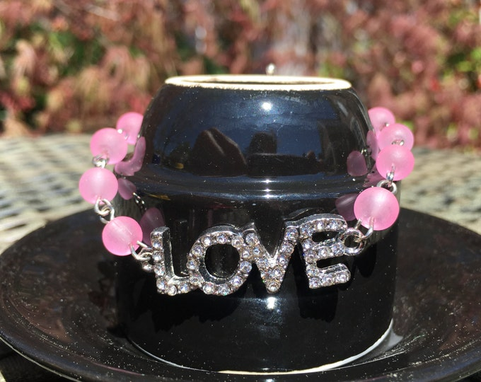 Rhinestone Love Bracelet | Fun Blingy Bracelet | Fun Birthday Gift | Wire Wrapped Frosted Transparent Glass Beads | Customize Your Color