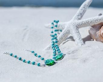 Druzy Bracelet / Silver Druzy Bracelet / Turquoise Druzy Beaded Bracelet / Trendy Druzy Bracelet / Druzy Jewelry