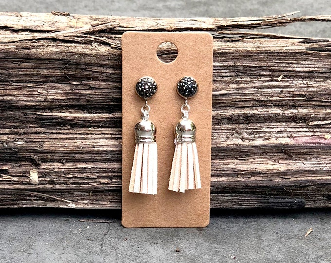 Silver Tassel Earrings, white suede tassel, rhinestone tassel Statement Earrings, Floral Earrings, Boho Earrings, Bridesmaids gifts