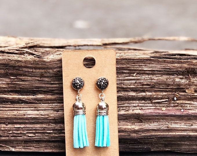 Silver Tassel Earrings, light blue suede tassel, rhinestone tassel Statement Earrings, Floral Earrings, Boho Earrings, Bridesmaids gifts