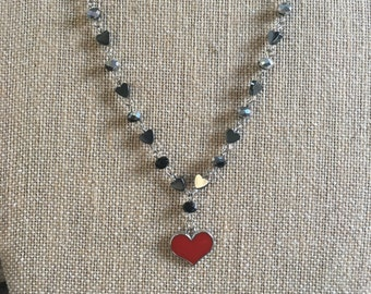 Heart Necklace on Wire Wrapped Heart Chain / Heart Jewerly / Heart Bling / Fun Girls Necklace