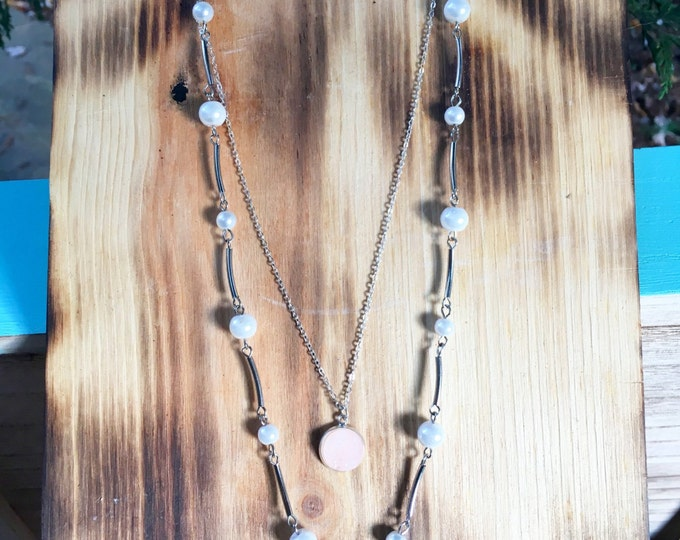 Layered Necklace / Pearl  necklace / Druzy choker / Silver choker /  Delicate choker / Trendy Necklace