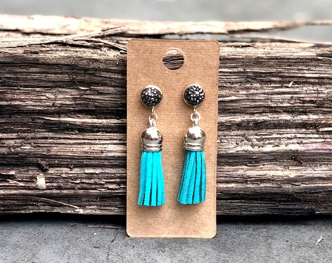 Silver Tassel Earrings, Turquoise suede tassel, rhinestone tassel Statement Earrings, Floral Earrings, Boho Earrings, Silver earrings