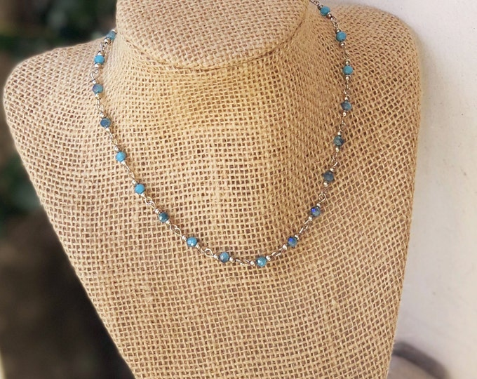 Choker/ Beaded Choker/ Boho Choker/  Rosary Beaded Choker Necklace/ Dainty Choker/ Delicate Necklace/ Bat Mitzvah Gift/ Teenage girl gift