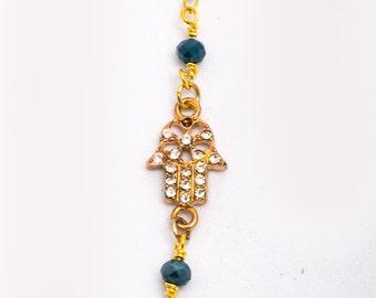 Hamsa Bracelet |  Blingy Hamsa Bracelet | Gold Rhinestone Hamsa Bracelet