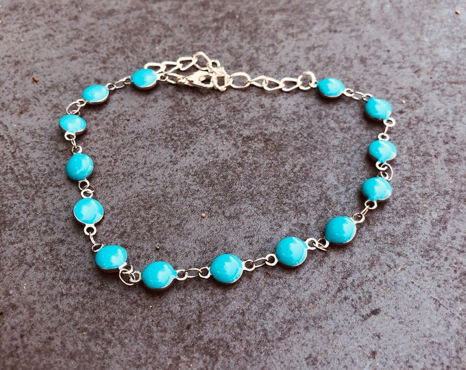 Turquoise Anket/ Beaded Anklet/ Anklet/ Dainty Anklet/ Delicate Anklet/ Beach anklet/ Silver Anklet/ Thin Anklet