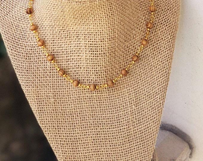 Choker/ Beaded Choker/ Tortoise Choker/ Wood Beaded Choker Necklace/ Dainty Choker/ Delicate Necklace/ Bat Mitzvah Gift/ Teenage girl gift