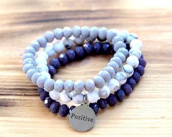 Custom Word Bracelet- Intent Bracelet- Stacking Bracelets- Set of 3 -Custom Charm Bracelet- Personlized Jewelry - Word Jewelry- Inspiration