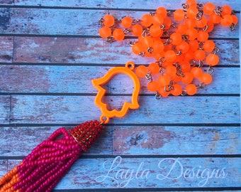 Hamsa Necklace | Kids Jewelry |  Hamsa Necklace | Bat Mitzvah Gift | Modern Jewish Jewelry | Pink and orange tassel