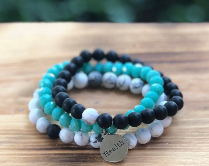Intent Bracelet- Custom Word Bracelet- Stacking Bracelets- Set of 3 -Custom Charm Bracelet- Personlized Jewelry - Word Jewelry- Health