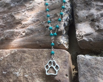 Dog Paw Necklace | Silver Dog Paw Charm Turquoise Wire Wrapped Necklace  | Percentage of sale goes to the Atlanta Beagle Rescue