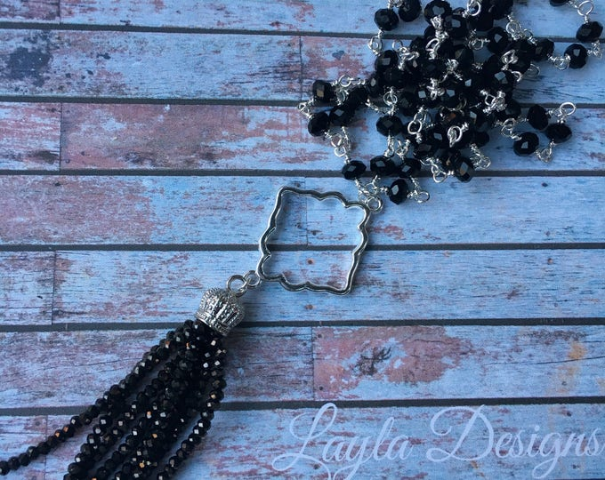 Black beaded tassel on a black beaded necklace / Long Silver Tassel Necklace with a Silver Connector Pendant/ Long beaded tassel necklace
