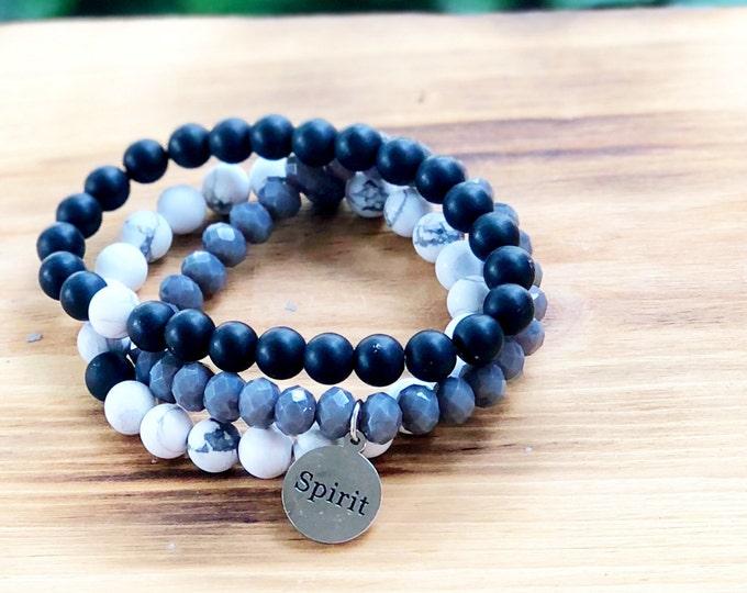 Spirit charm- Intent Bracelet- Custom Word Bracelet- Stacking Bracelets- Set of 3 -Custom Charm Bracelet- Personlized Jewelry - Word Jewelry