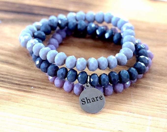 Custom Word Bracelet- Intent Bracelet- Stacking Bracelets- Set of 3 -Custom Charm Bracelet- Personlized Jewelry -Share- Word Jewelry