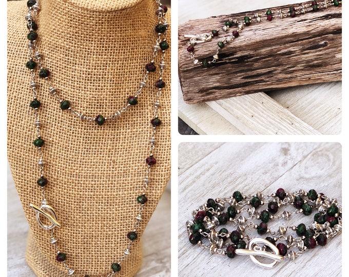 Convertible  Necklace Long Layering Necklace boho bead wrap bracelet layered necklace long beaded necklace boho beaded wrap bracelet