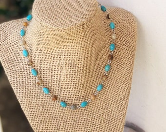 Turquoise Choker/ Beaded Choker/ Beaded Choker/ Choker Necklace/ Dainty Choker/ Delicate Necklace/ Bat Mitzvah Gift/ Teenage girl gift