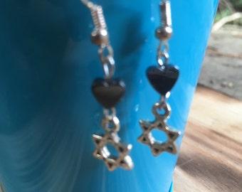 Jewish Star Earrings | Jewish Stars with hearts Earrings | Bat Mitzvah Gift | Modern Jewish Jewelry | Sterling Silver Earring Hooks