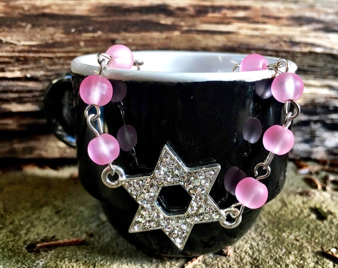 Rhinestone Jewish Star Bracelet / Fun Blingy Bracelet / Bat Mitzvah Gift / Modern Jewish Jewelry / Jewish Star Bracelet