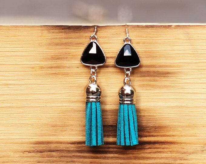 Onyx Black Tassel Earrings, Black Gemstone, Dangle Earrings, turquoise Tassel suede earrings, Tassel Drop Earrings, drop silver earrings