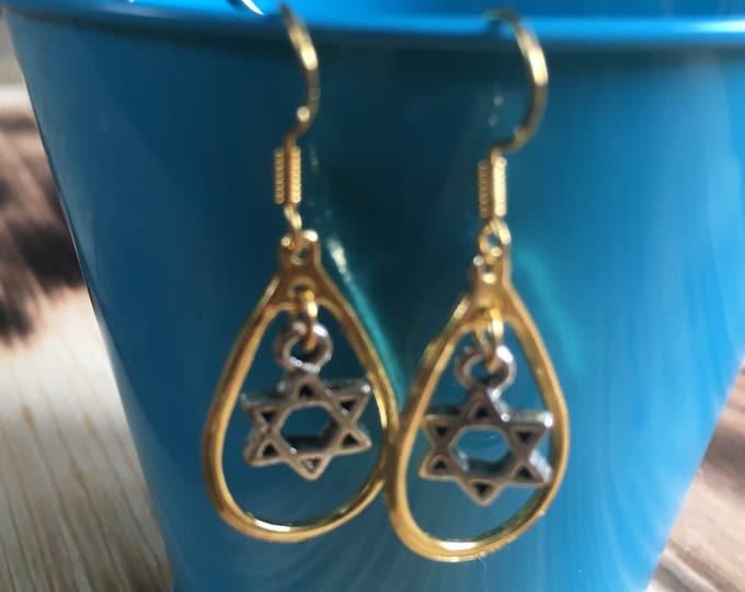 Gold and Silver Star of David Earrings | Loop Earrings | Bat Mitzvah Gift | Light-weight Earrings | Sterling Silver Earring Hooks