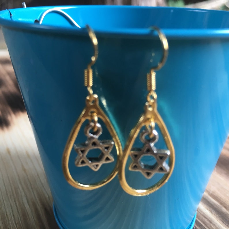 Gold and Silver Star of David Earrings  Loop Earrings  Bat image 0
