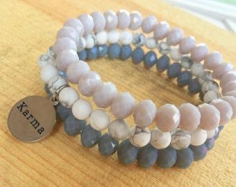 Choose Your Word Bracelet - Beaded Stacking Bracelets- Set of 3 -Customize Your Charm Bracelet- Karma- Yoga- Personlized  -Inspirational