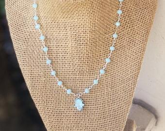Hamsa Druzy Choker/ hamsa necklace / Aqua blue and Silver Beaded choker/ hamsa choker / druzy hamsa charm / Hamsa necklace/ Silver Choker