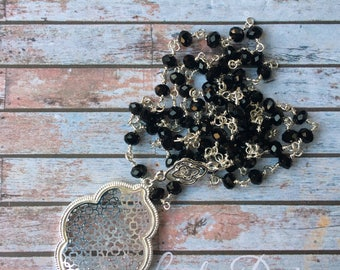 Long Pendant Necklace, Long Necklace, Pendant Necklace, Boho Necklace, filigree Necklace, silver and black beaded necklace