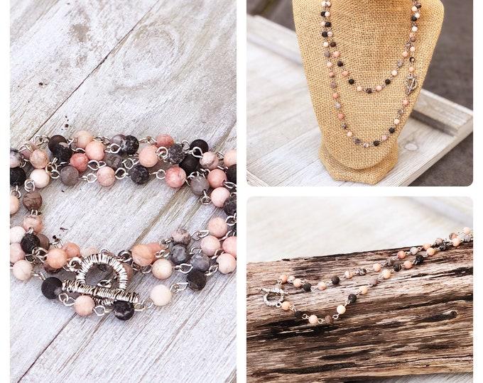 Convertible  Necklace Long Layering Necklace wrap bracelet  boho bead layered necklace long beaded necklace bobo beaded wrap bracelet