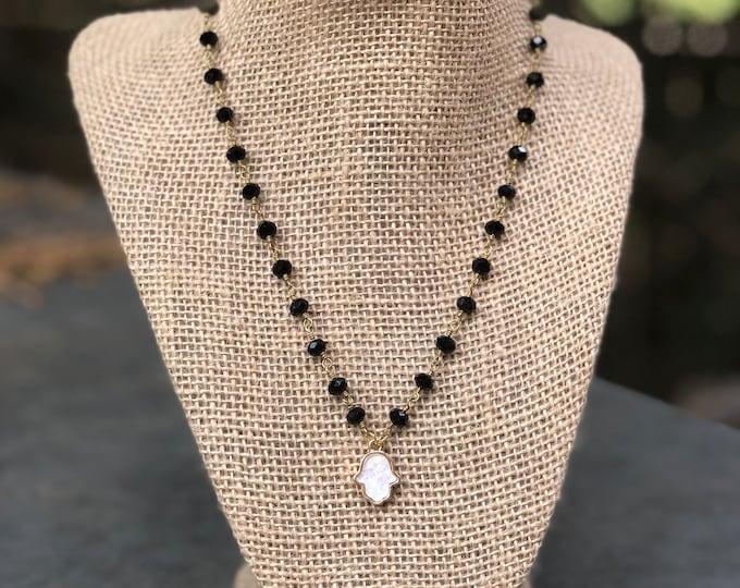 Hamsa White Opal Choker / white opal choker /white opal hamsa / opal hamsa choker/ hamsa necklace / opal hamsa charm / white opal jewelry