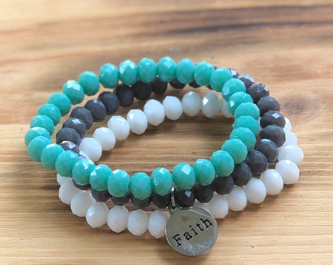 Intent Bracelet- Custom Word Bracelet- Stacking Bracelets- Set of 3 -Custom Charm Bracelet- Personlized Jewelry - Word Jewelry- Faith